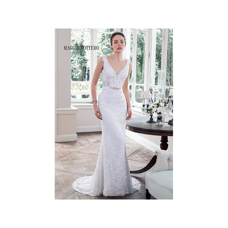 Boda - Vestido de novia de Maggie Sottero Modelo Pierce - 2016 Recta Pico Vestido - Tienda nupcial con estilo del cordón