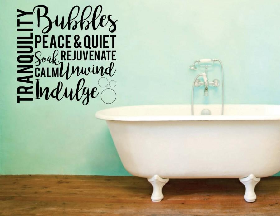 Vinyl Wall Word Decal   Tranquility Bubbles Peace U0026 Quiet Soak Rejuvenate  Calm Unwind Indulge  Home Goods   Bathroom Decor   Wall Words