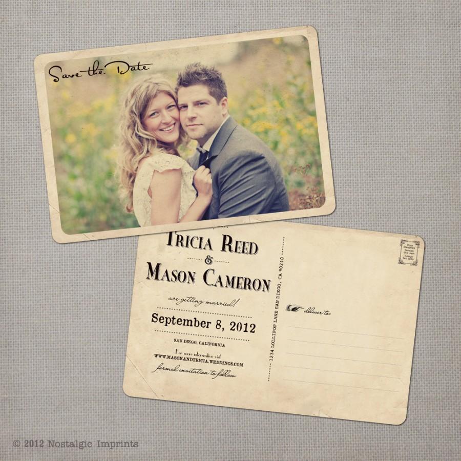 "زفاف - Unique wedding save the dates, Save the date postcard, Vintage save the date card - the ""Tricia"""