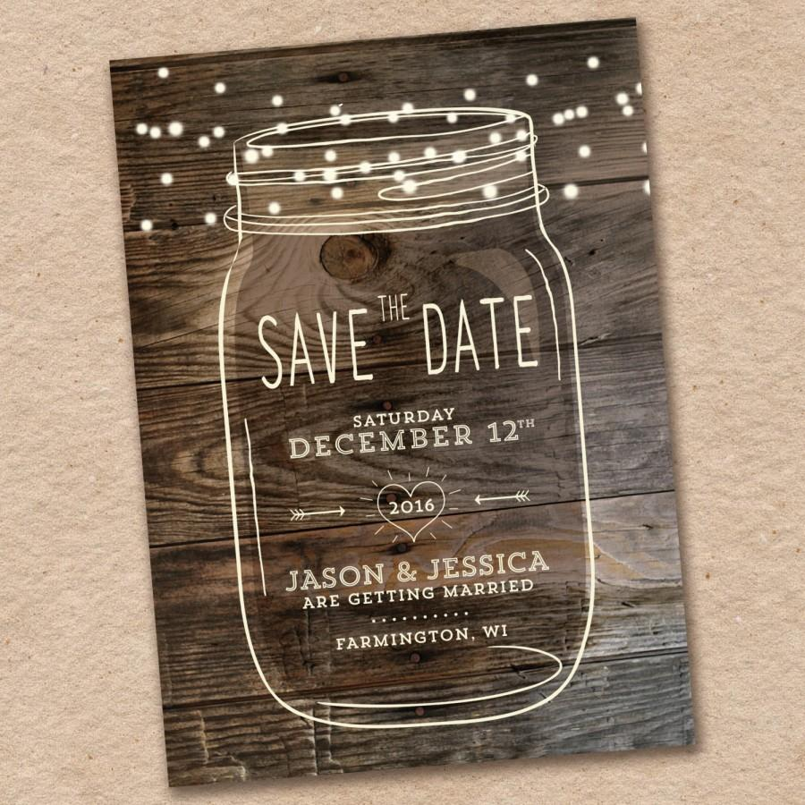 زفاف - Mason Jar Save the Date, Rustic Save the date, Country save the date, Woodland Wedding, Design with Barnwood