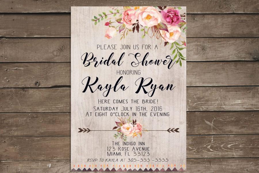 زفاف - Rustic bridal shower invitation, bridal shower invitation rustic, wedding shower invitation, bridal shower invitation printable, flower