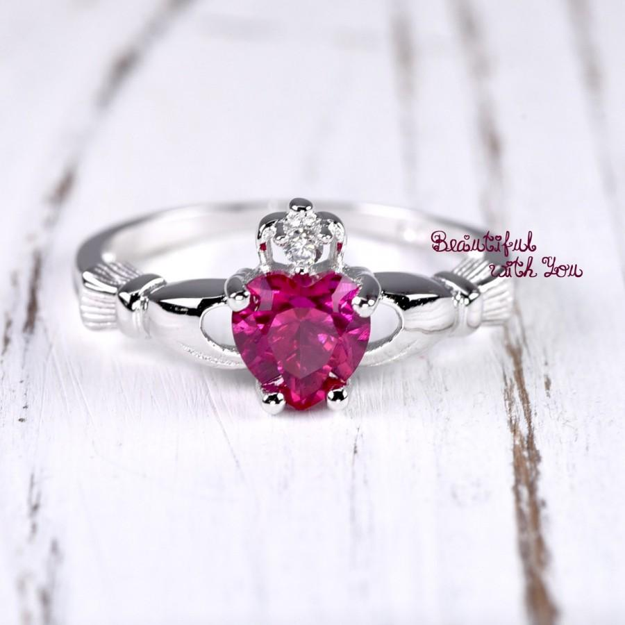 Hochzeit - Friendship Ring Claddagh Irish Ring Sterling Silver Claddagh Band Womens Promise Ring Ruby CZ July Birthstone Heart Celtic Engagement Ring