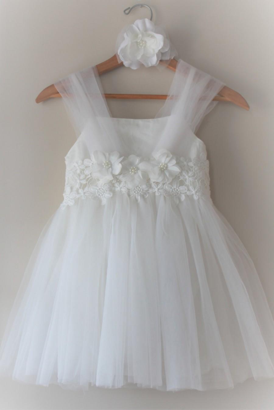 Wedding - White Flower Girl Dress- White Lace Flower Girl Dress- White Birthday Girl Dress-  White Girls Toddlers Dresses- Communion  Girl Dresses