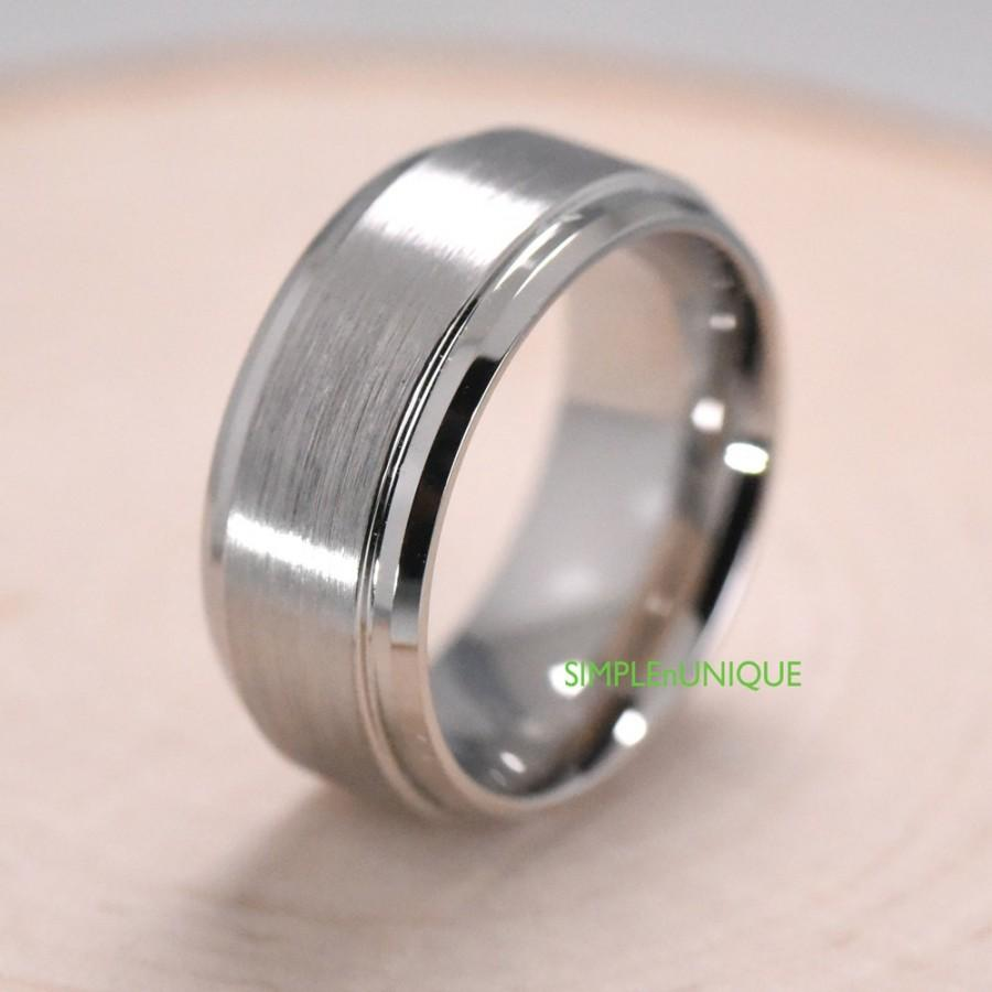 Mariage - Male Engagement Rings Cobalt Flat Brushed Center Polished Edge 9mm Mens Cobalt Wedding Band Promise Ring Gift Idea