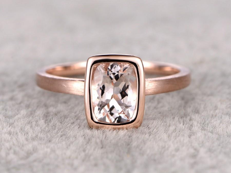 Mariage - 6x8mm Morganite Solitaire Engagement ring Rose gold,Plain gold wedding band,14k,cushion Cut,Promise Bridal Ring,Bezel,pink,Sand band design