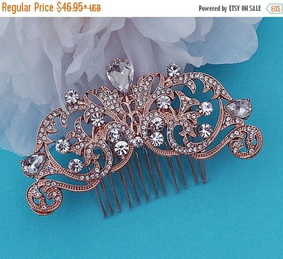 Mariage - ROSE GOLD or SILVER Comb Bridal Crystal Vintage Hair Accessories Accessory Wedding Hair Jewelry Prom Party Blusher Birdcage Bird Cage Veil