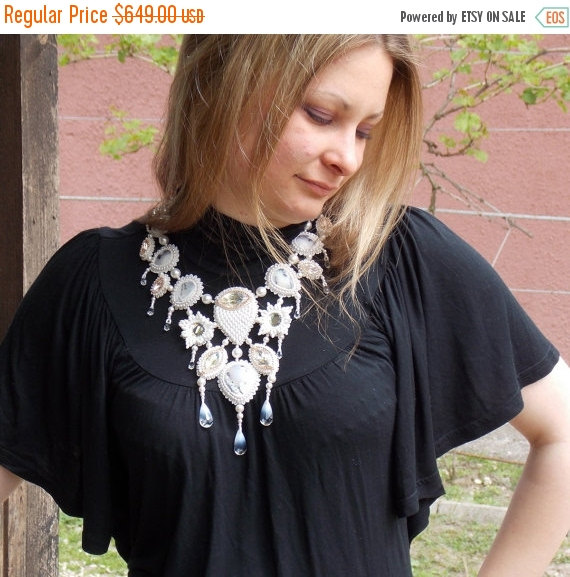 Mariage - Spring sale FREE SHIPPING , Bead Embroidery  Collar Necklace   White,  Rosegold ,  Swarovski  Dendrite opal, Wedding . Summer wedding