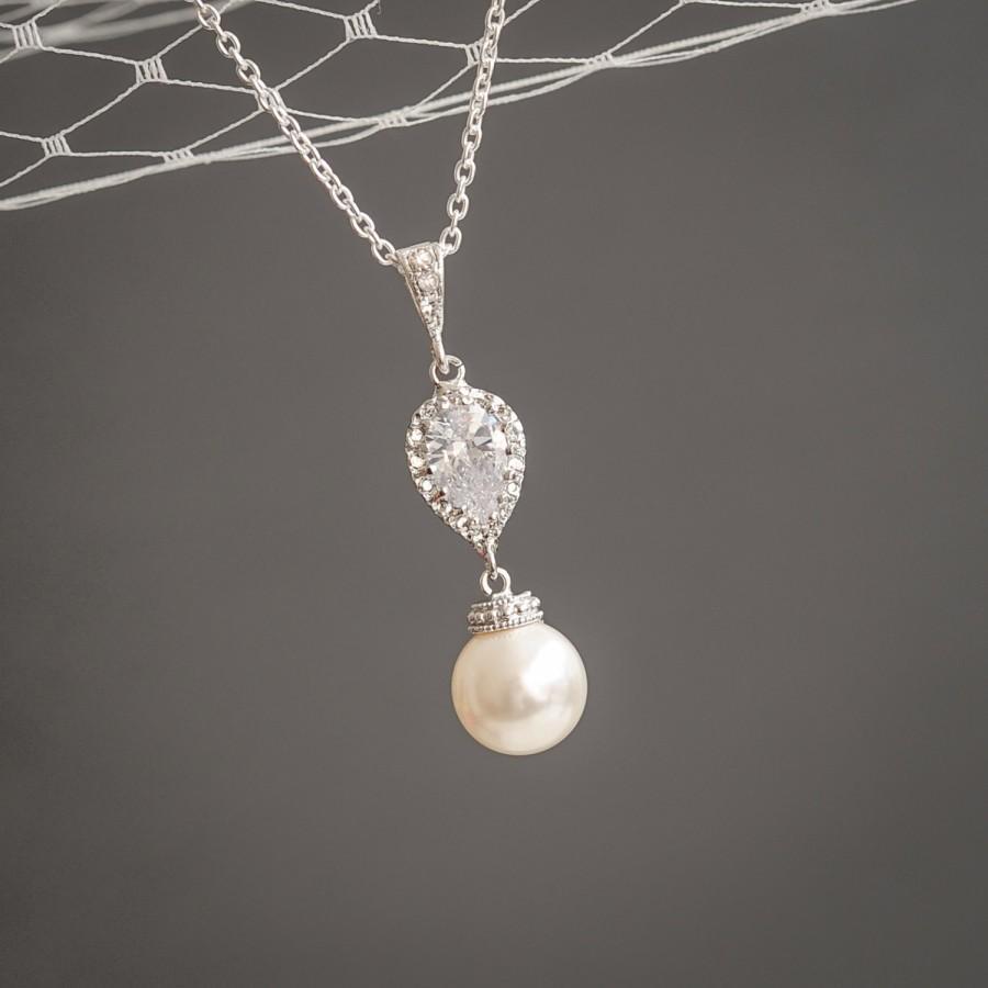 Mariage - Bridal Wedding Necklace, Pearl Drop Bridal Necklace, Sterling Silver Pendant Necklace, Sworvski Pearl and Crystal Teardrop Necklace, ABELIA