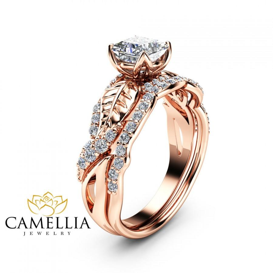 Hochzeit - Moissanite Wedding Engagement Ring Set 14K Rose Gold Wedding Rings Princess Moissanite Engagement Ring