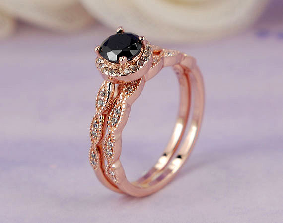 Hochzeit - 1.03 ctw Round Halo Ring, Man Made Black CZ, Rose Gold Plated Sterling Silver Engagement Wedding Ring Set_ sv2251