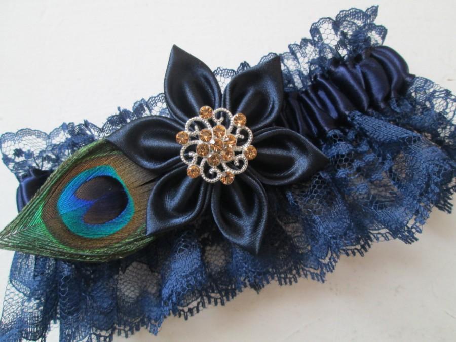 Свадьба - Navy Blue Wedding Garter, Navy Prom Garter, Peacock Garter, Navy Lace & Gold Garter, Midnight Blue, Something Blue, Country- Rustic Bride
