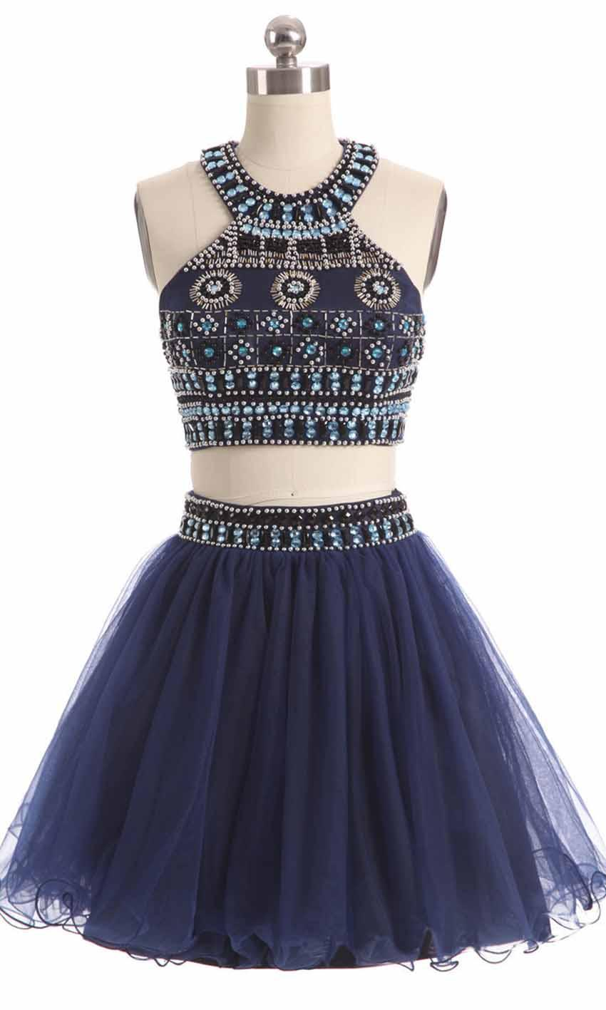 Hochzeit - Beading Halter Straps Two-pieces Short Blue Prom Dress KSP450