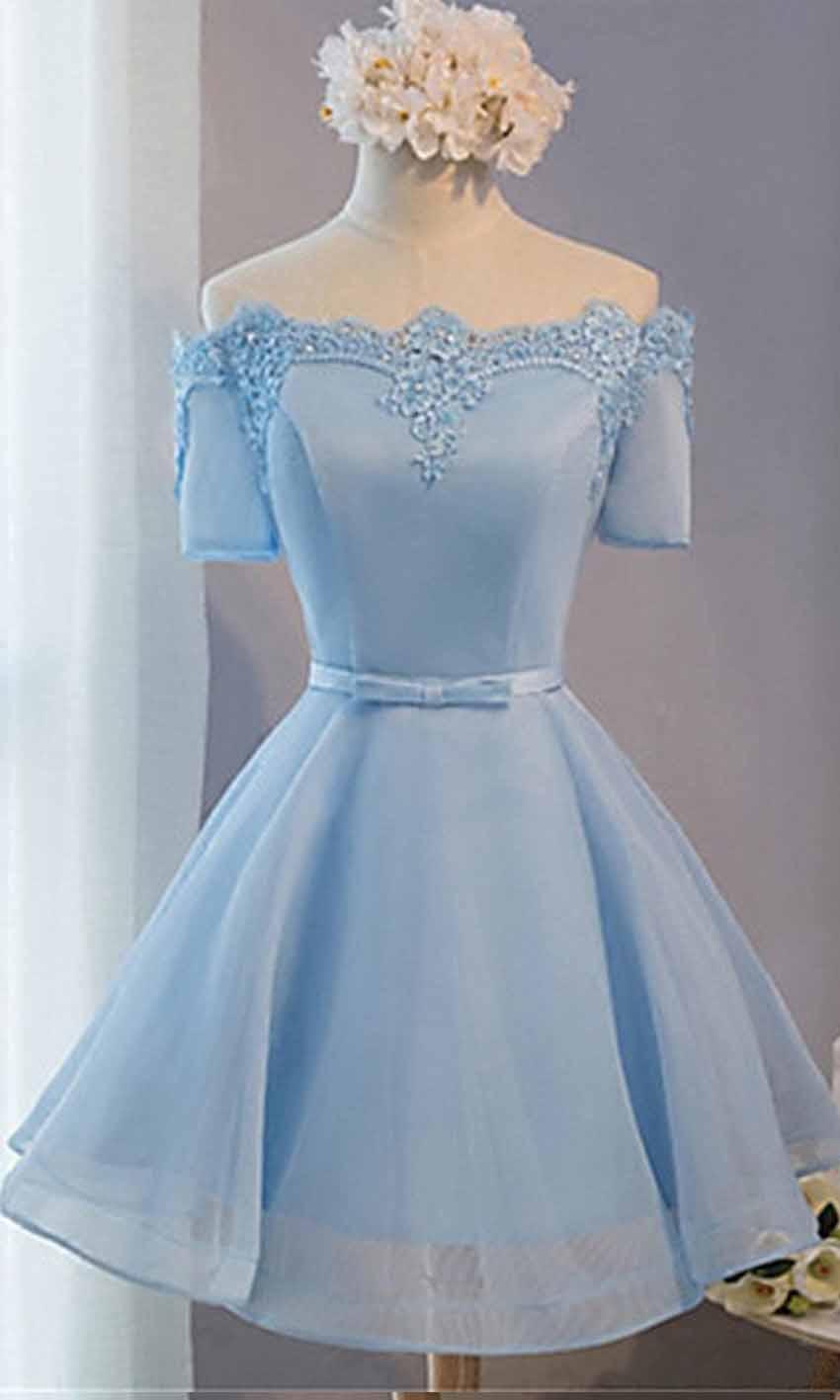 7e26c7a667b Cute Blue Off Shoulder Short Prom Dress Short Sleeves KSP446 ...