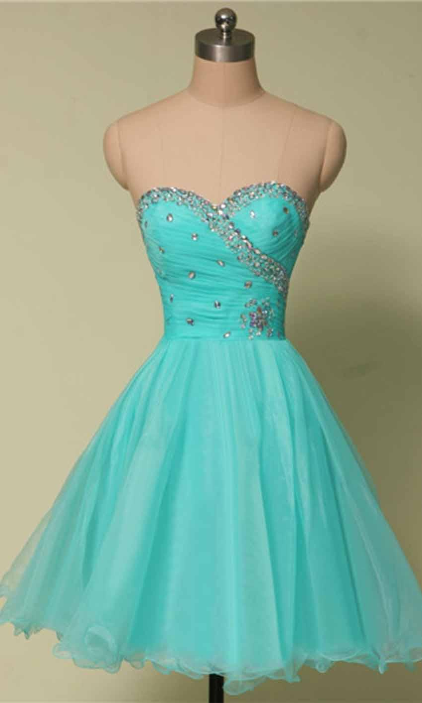 Свадьба - Short Light Blue Flattering Slim Prom Dresses KSP436