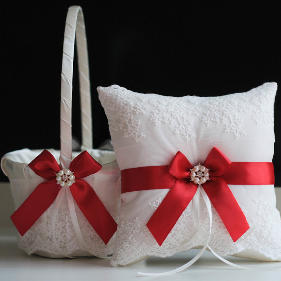 Nozze - Red Ring Bearer Pillow  Red Flower Girl Basket  Wedding Ring Holder  Red Wedding Basket Pillow Set  Red Wedding Pillow  Red Ring Pillow