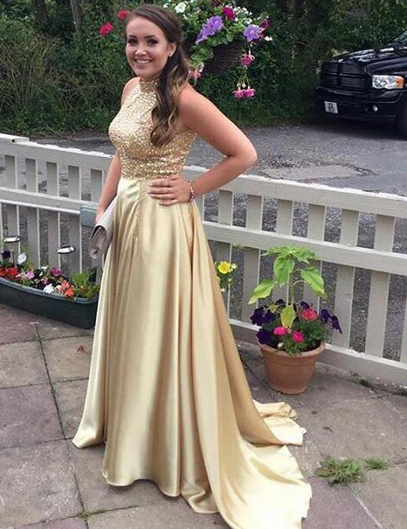 Wedding - Decent Two Piece High Neck Sleeveless Sweep Train Gold Prom Dress with Beading