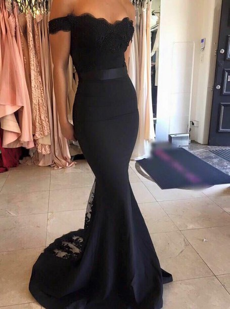 Mariage - Black Long Prom Dress - Mermaid Off the Shoulder with Sash