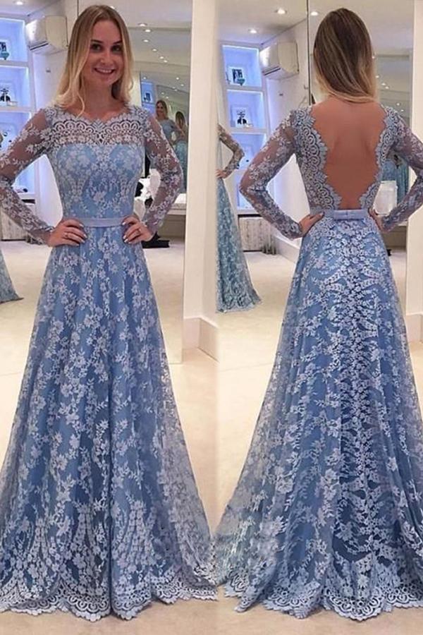 زفاف - Blue Backless Lace Long Sleeves Jewel Bowknot Sweep Train Long Prom Dress