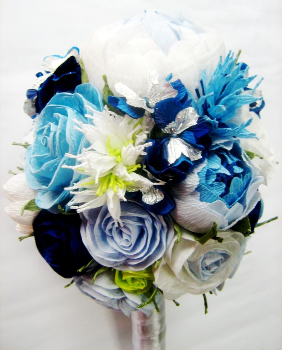 Wedding Bridal Bridesmaids Bouquet White Royal Navy Blue Turquoise Teal Paper Flowers Rose Peony Aqua Flower Beach