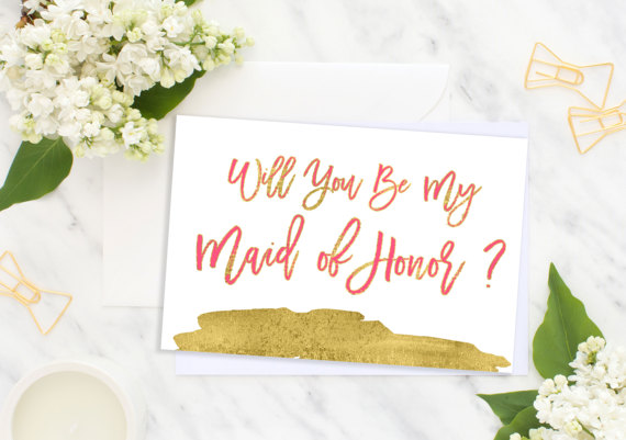 Mariage - Will You Be My Maid of Honor Card Foil Bridesmaid Wedding card Bridesmaid Gift Matron of Honor bridesmaid proposal Flower Girl idbm7