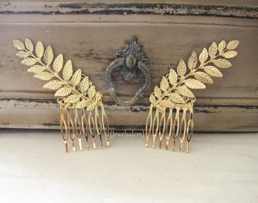 Mariage - Gold Leaf Hair Pin Gold Hair Comb Small Hair Comb Bridal Hair Comb Victorian Wedding Rustic Gold Hair Slide for Bride Woodland Boho Romantic