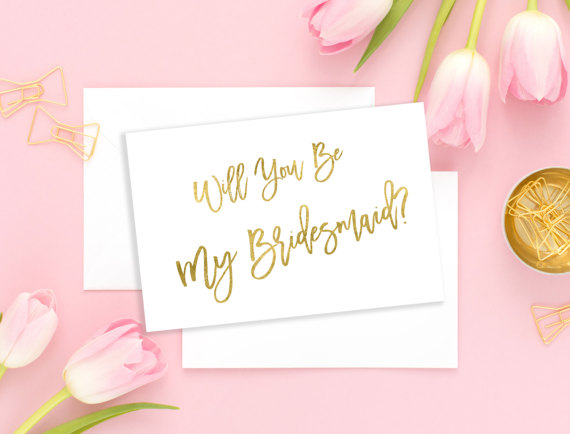 Hochzeit - Will You Be My Bridesmaid Gold Maid of Honor Card Wedding card Bridesmaid Gift Matron of Honor Flower Girl Wedding printable card idbm8
