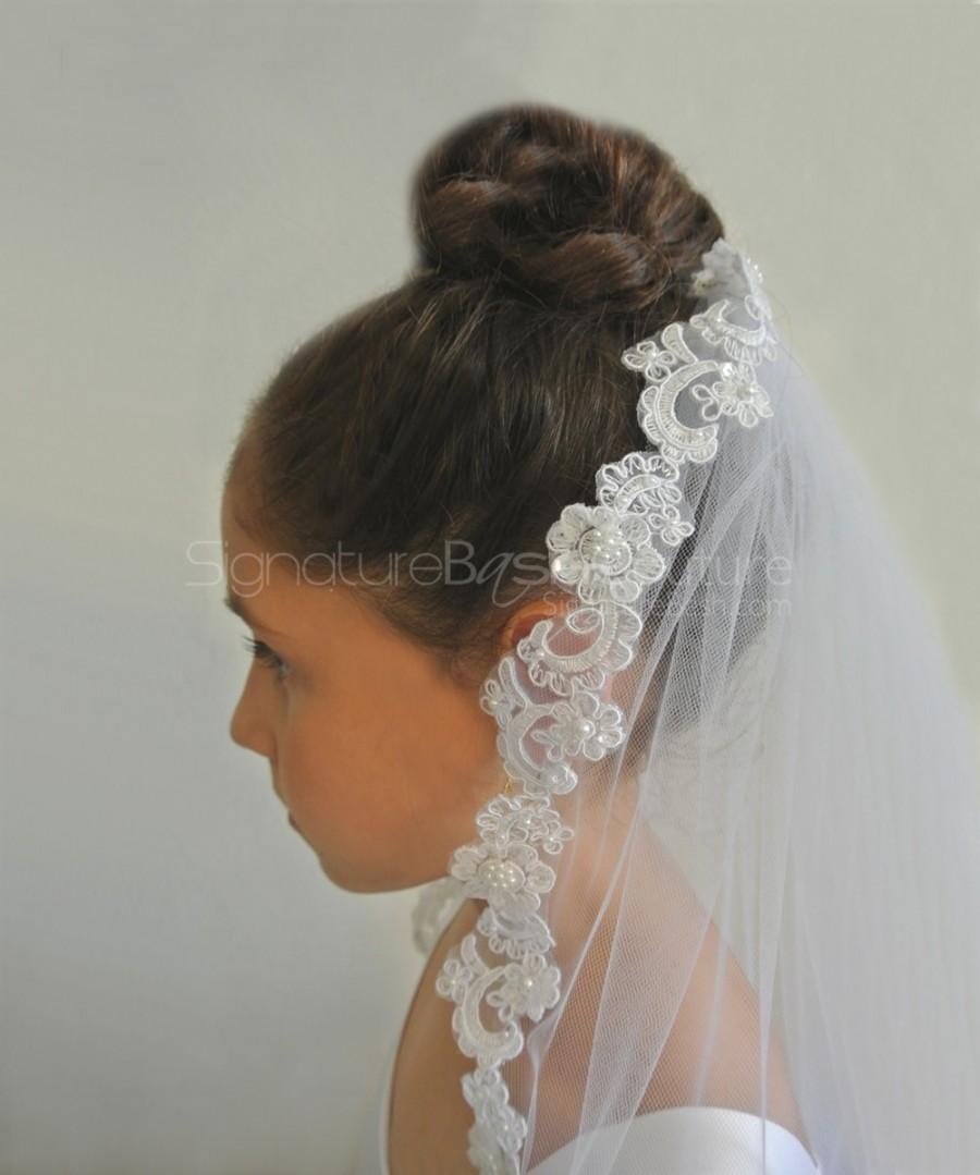 Mariage - Lace Edged First Holy Communion Veil - Flower Girl Veil