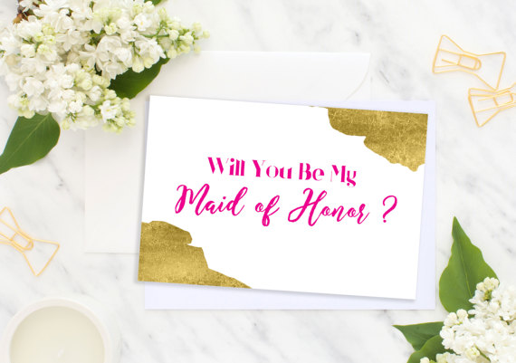 Hochzeit - Will You Be My Maid of Honor Hot Pink Bridesmaid Card Bridesmaid Gift Wedding card Matron of Honor Flower Girl Wedding printable card idbm10