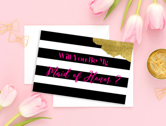 Hochzeit - Will You Be My Maid of Honor Bridesmaid Card Wedding card Hot Pink Bridesmaid Gift Matron of Honor Flower Girl Wedding printable card idbm11