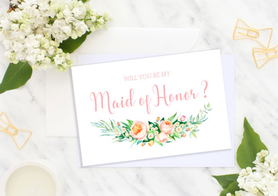 Hochzeit - Will You Be My Maid of Honor Bridesmaid Card Wedding card Bridesmaid Gift Matron of Honor Flower Girl Wedding roses printable cards idbm12