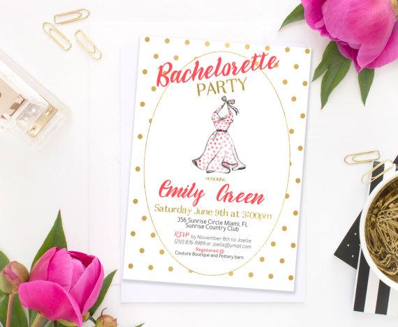 Mariage - Bachelorette party Invitation Bridal Shower Invitation Bridal brunch Invitation Red Gold dots Bridal Shower Invite idb59