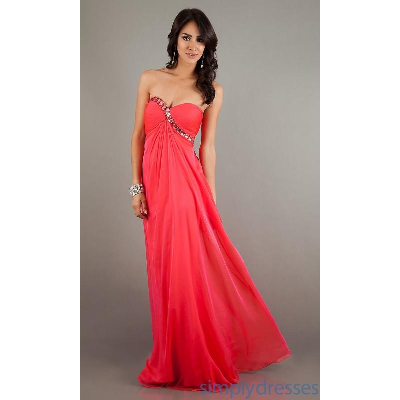 Wholesale Chiffon Long Red Strapless Sweetheart A-line Prom/evening ...