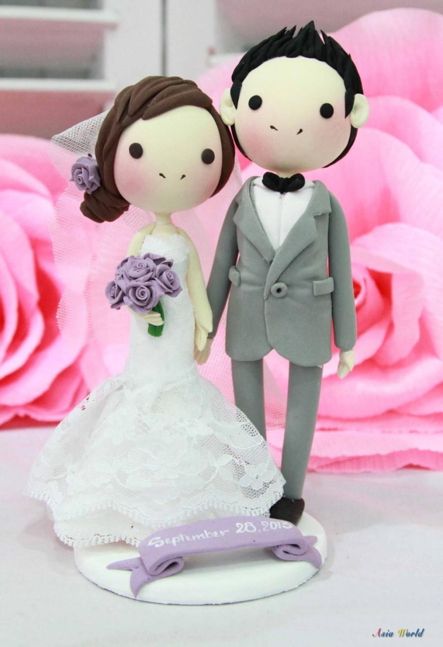 Wedding - Wedding Cake topper in lace strapless mermaid wedding dress purple wedding theme clay doll, clay miniature, rings holder clay figurine