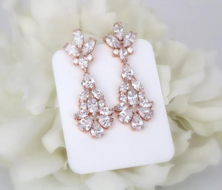 Wedding - Rose Gold earrings, Long Bridal earrings, Wedding jewelry, Crystal earrings, Art Deco earrings, Wedding earrings, Chandelier earrings
