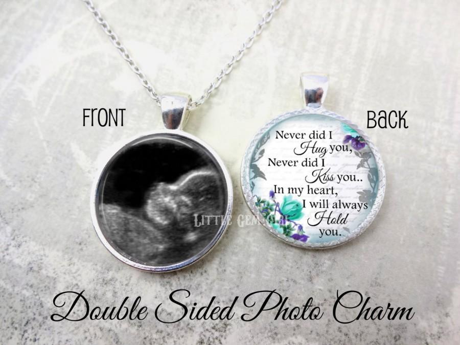 Wedding - Miscarriage Keepsake Jewelry - Ultrasound Memorial Necklace - Double Sided Custom Photo Sonogram Necklace Personalized Loss of Baby Pendant