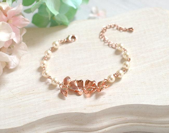 Wedding - Rose Gold Bracelet Bridal Bracelet Orchid Flower Cream White Pearls Bracelet Rose Gold Wedding Jewelry Bridesmaid Gift Adjustable Bracelet
