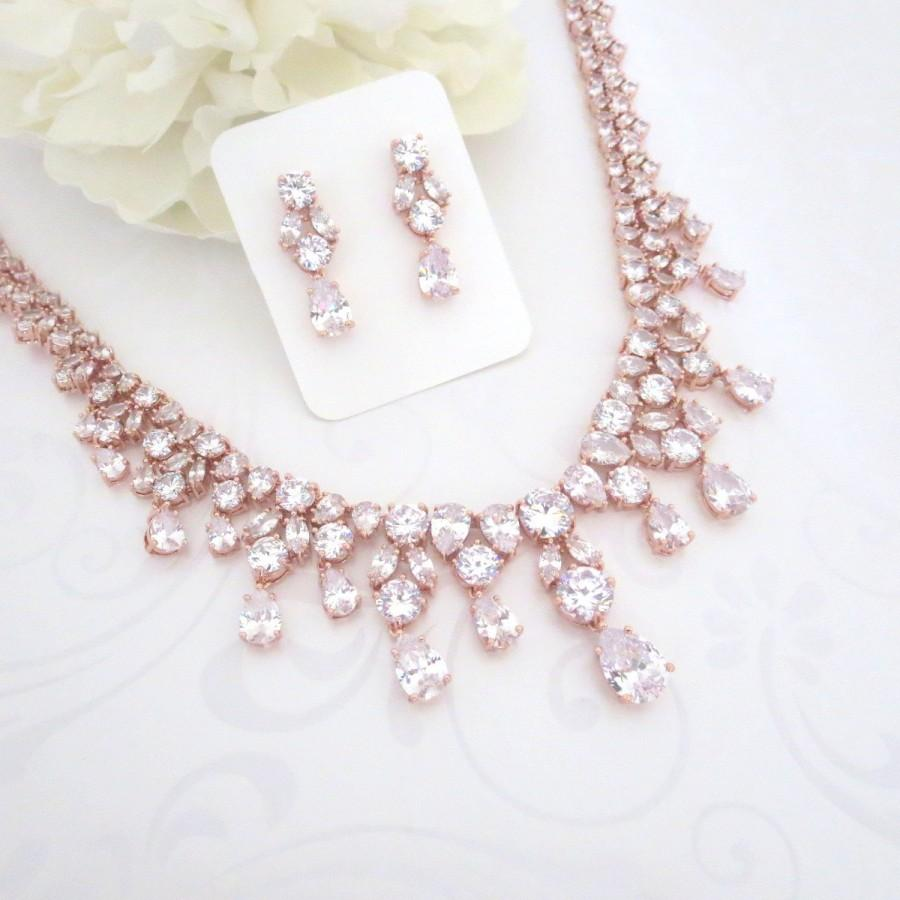 Rose Gold Statement Necklace, Rose Gold Bridal Necklace ...
