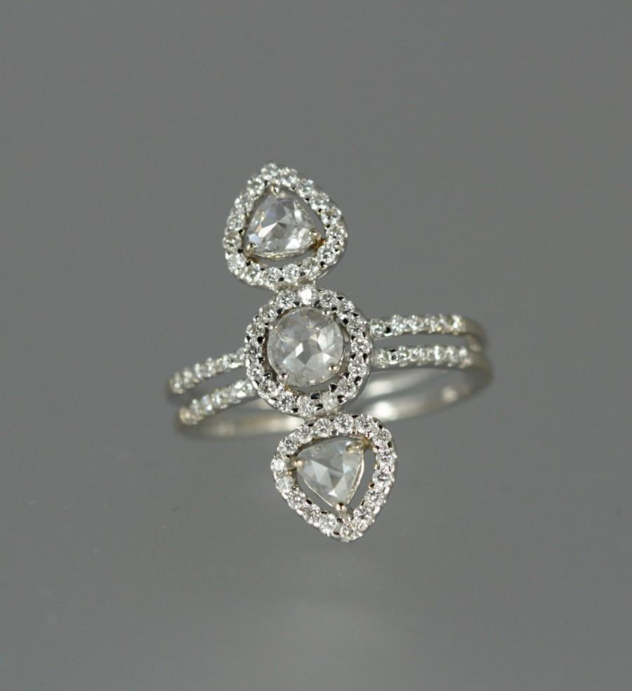 Wedding - Stunning Vintage Rose Cut Diamond and 18k White Gold Statement or Right  Hand / Engagement Ring. One-of-a kind! Size 6.5.