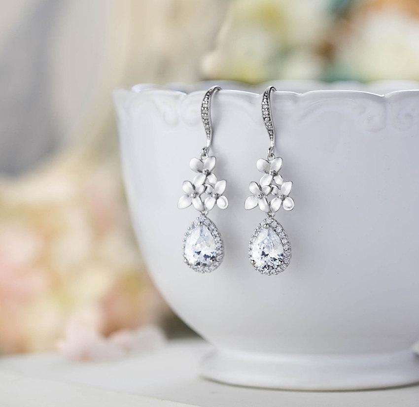 Hochzeit - Silver Bridal Earrings Wedding Earrings Silver Drop Earrings Clear Crystal Cubic Zirconia Earrings Floral Earrings Cherry Blossom Lilac