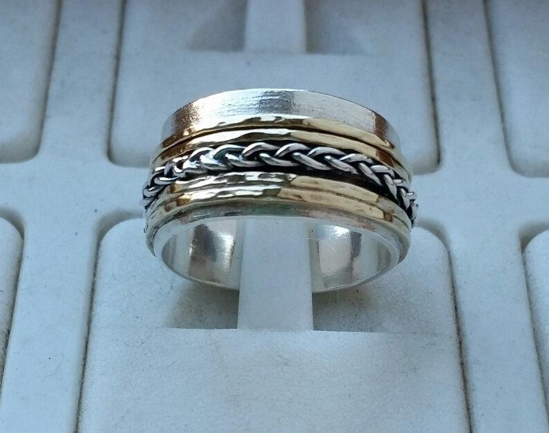 Wedding - Silver and Gold ,Ring ,Wedding  Band ,Sterling Silver 925, 14 K Gold ,Wedding Ring , Handmade ,Artisan Crafted , Band ,Women