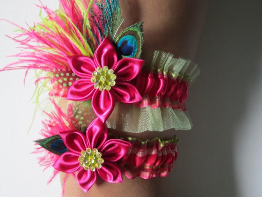 Wedding - Hot Pink & Lime WEDDING Garter Set, Peacock Garters, Lime Green and Pink Bridal Garters with Kanzashi Flower, Prom Garters