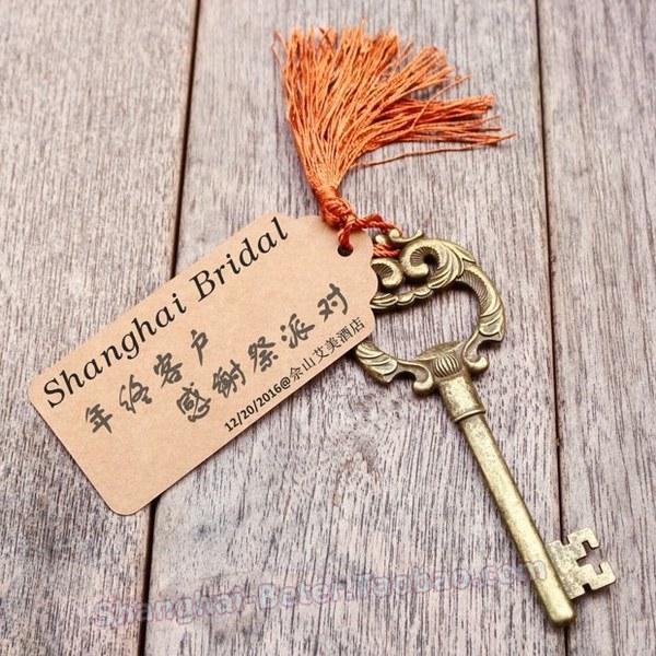 Mariage - Beter Gifts®  金色鑰匙開瓶器WJ099創意Wedding Favors婚禮小物通往天堂的鑰匙
