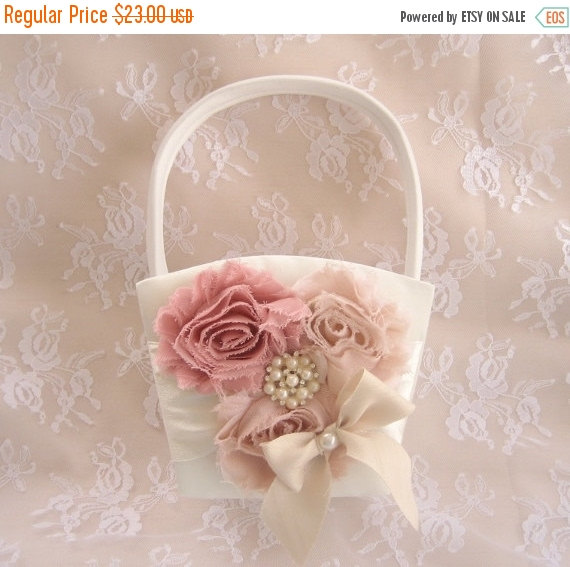 Mariage - WEDDING SALE 20% OFF Flower Girl Basket,  Rose Blossom Shabby Chic