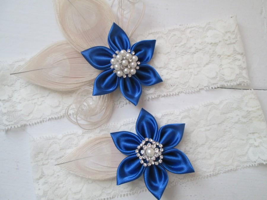 Wedding - Royal Blue Wedding Garter Set, Champagne Peacock Garter, Ivory Lace Bridal Garter, Something Blue Garters, Vintage- Rustic- Country Bride