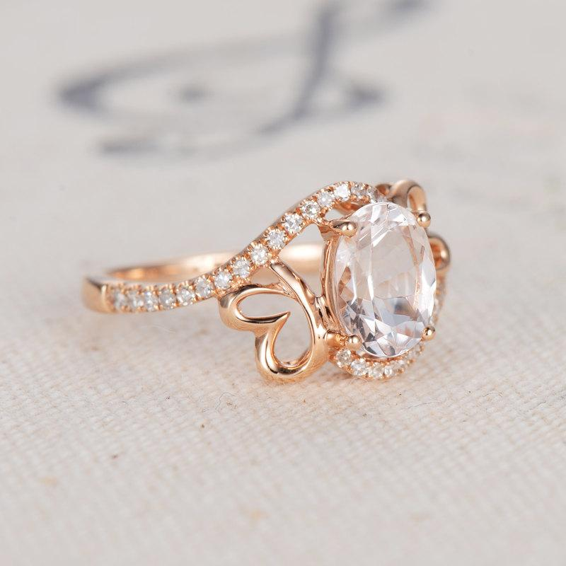Wedding - Morganite Engagement Ring,Oval Morganite ring,14K rose gold wedding ring,Rose gold Morganite Engagement ring,Butterfly ring,rose gold band