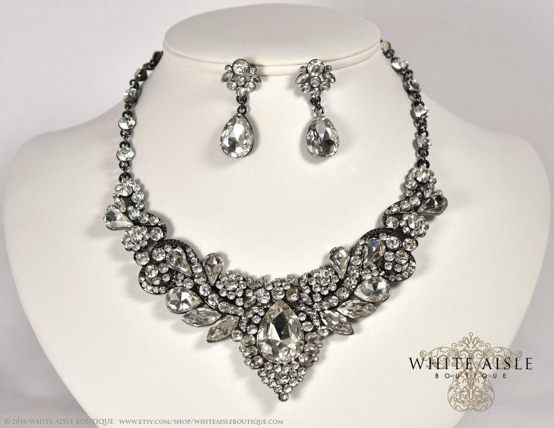 Wedding - Gunmetal Crystal Wedding Jewelry Set, Vintage Inspired Bridal Necklace, Rhinestone Statement Necklace, Chunky Necklace, Bridal Jewelry