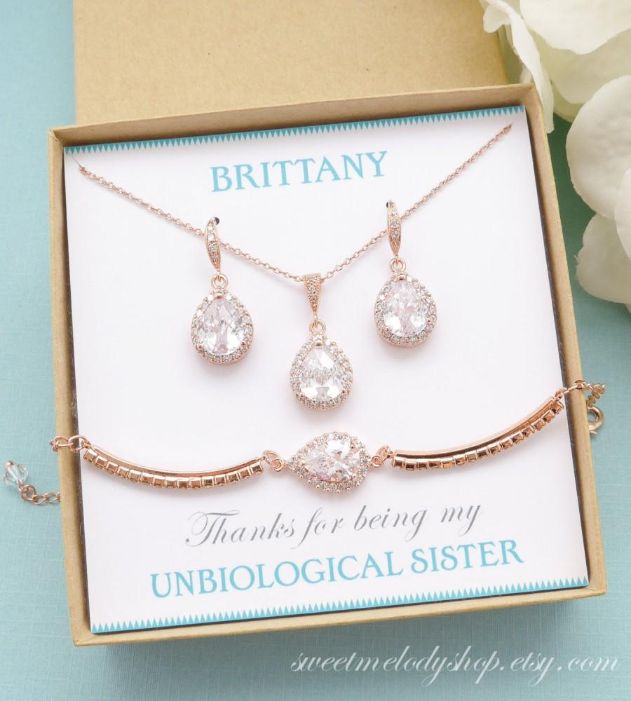Wedding - Personalized Bridesmaid Gift, Rose Gold Bridesmaid Earrings Necklace Bracelet, Bridesmaid Jewelry Set, Mother of Bride Gift,Bridesmaid Gifts