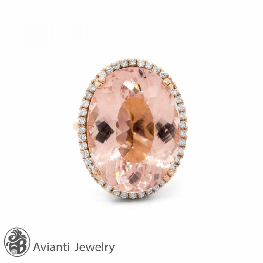 Wedding - Morganite Engagement Ring, Morganite Ring, Morganite and Diamond Ring, Rose Gold Engagement Ring