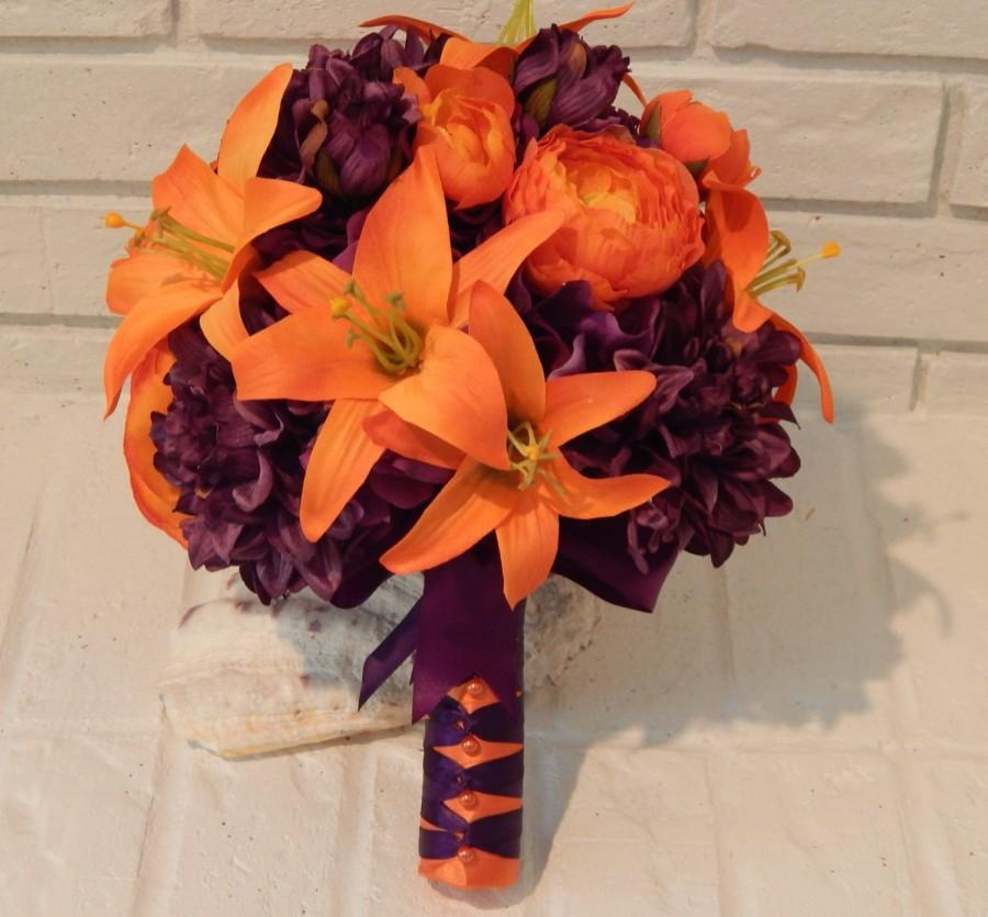 Fall Wedding Bouquet- Silk Flower Bridal Bouquet- Boutonniere- Tiger ...