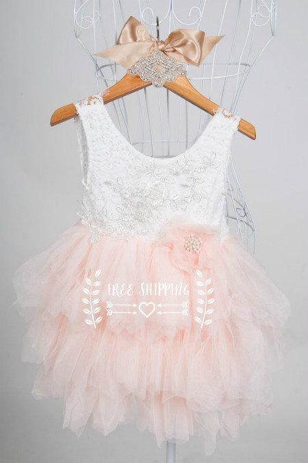 Hochzeit - Peach colour girls Tutu style dress white lace sleeveless bodice flower girl dress special occasion dress